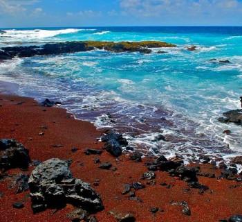 Red Sand Beach on Kaihalulu Bay