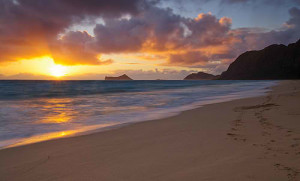 Sunset at Waimanalo Beach in Oahu, Hawaii