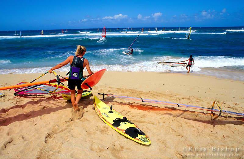 Windsurfing in Ho'okipa Beach, Maui, Hawaii